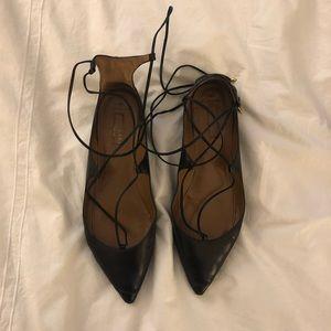 Aquazzura Black Leather Christy Flats
